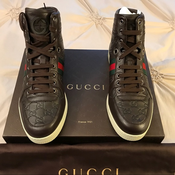16f19acc8ab New Gucci Guccissima Brown Leather High Tops Shoes
